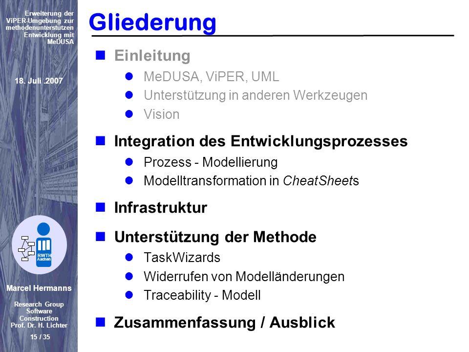Marcel Hermanns Research Group Software Construction Prof. Dr. H. Lichter 15 / 35 Erweiterung der ViPER-Umgebung zur methodenunterstützen Entwicklung