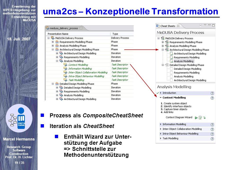 Marcel Hermanns Research Group Software Construction Prof. Dr. H. Lichter 19 / 35 Erweiterung der ViPER-Umgebung zur methodenunterstützen Entwicklung