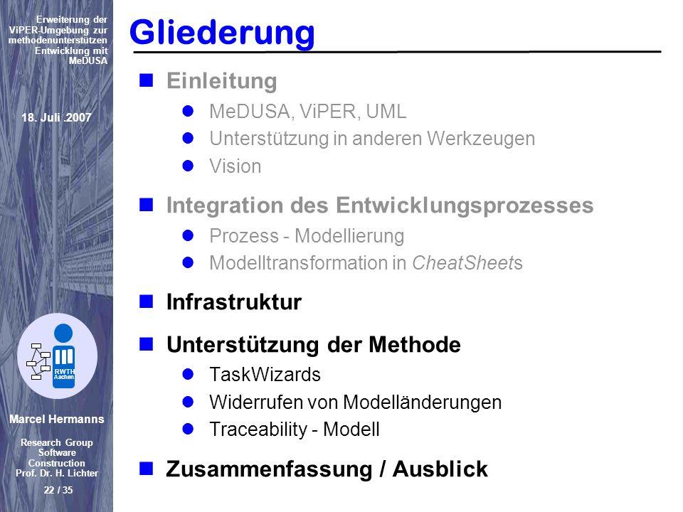 Marcel Hermanns Research Group Software Construction Prof. Dr. H. Lichter 22 / 35 Erweiterung der ViPER-Umgebung zur methodenunterstützen Entwicklung