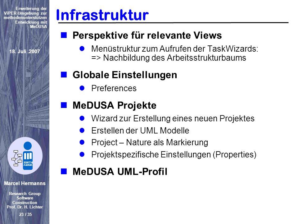 Marcel Hermanns Research Group Software Construction Prof. Dr. H. Lichter 23 / 35 Erweiterung der ViPER-Umgebung zur methodenunterstützen Entwicklung