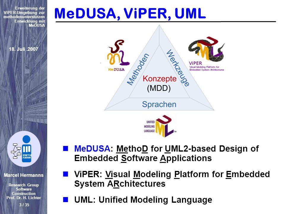 Marcel Hermanns Research Group Software Construction Prof. Dr. H. Lichter 3 / 35 Erweiterung der ViPER-Umgebung zur methodenunterstützen Entwicklung m