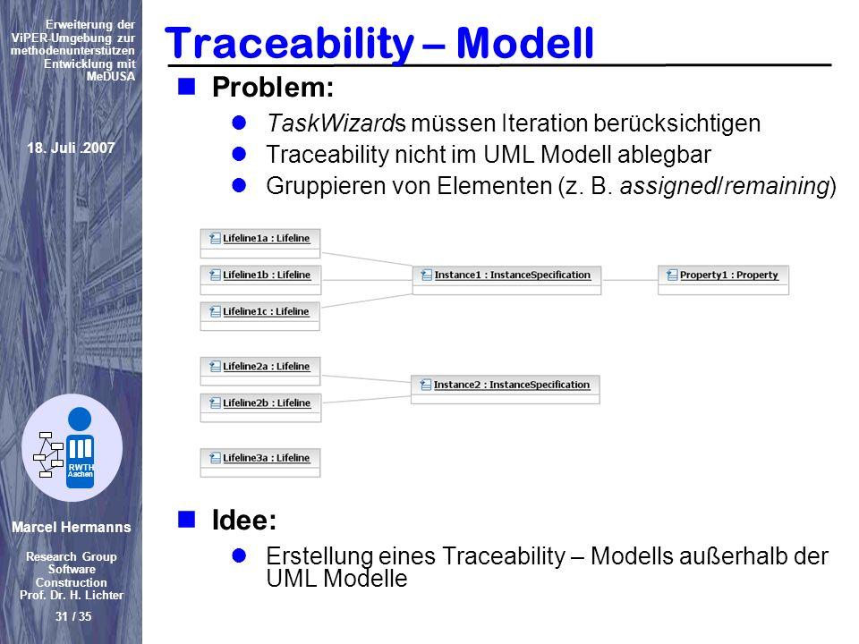 Marcel Hermanns Research Group Software Construction Prof. Dr. H. Lichter 31 / 35 Erweiterung der ViPER-Umgebung zur methodenunterstützen Entwicklung