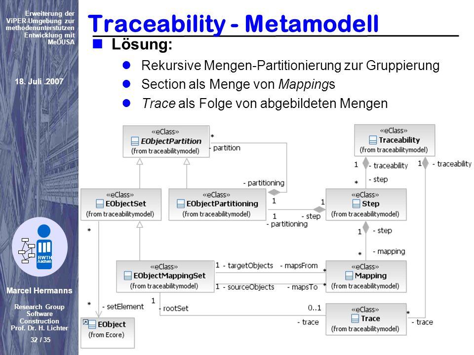 Marcel Hermanns Research Group Software Construction Prof. Dr. H. Lichter 32 / 35 Erweiterung der ViPER-Umgebung zur methodenunterstützen Entwicklung