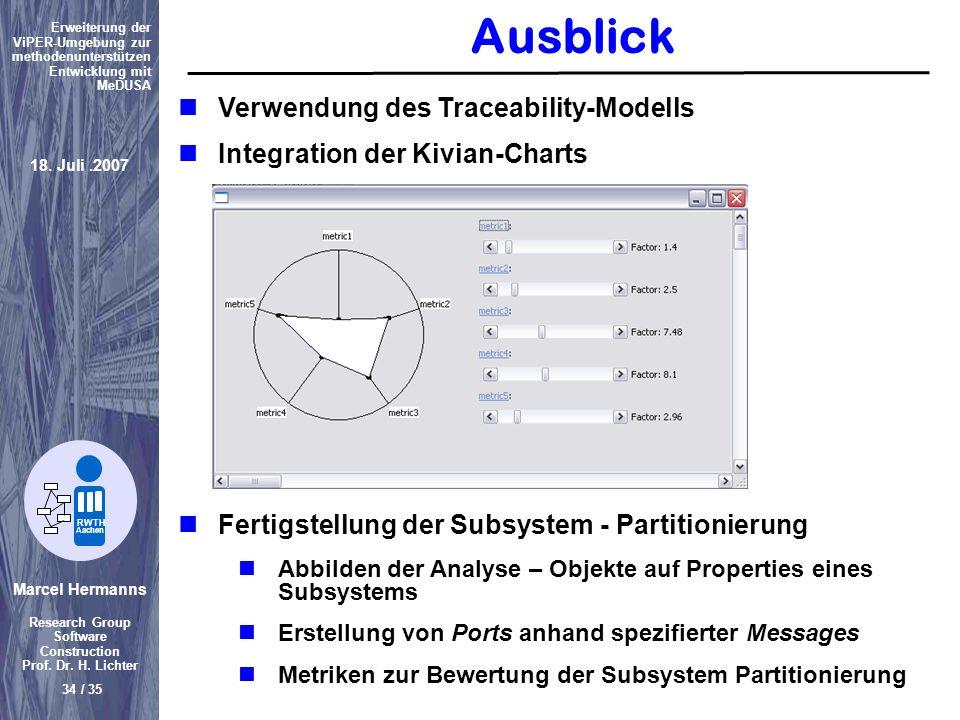 Marcel Hermanns Research Group Software Construction Prof. Dr. H. Lichter 34 / 35 Erweiterung der ViPER-Umgebung zur methodenunterstützen Entwicklung