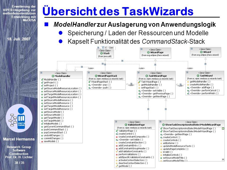 Marcel Hermanns Research Group Software Construction Prof. Dr. H. Lichter 38 / 35 Erweiterung der ViPER-Umgebung zur methodenunterstützen Entwicklung