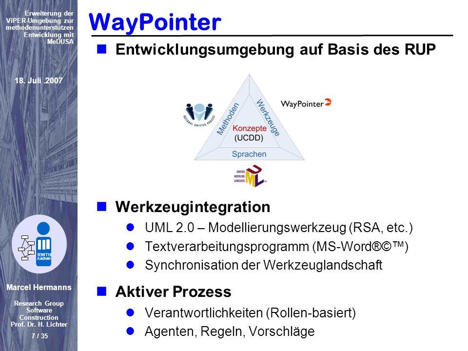 Marcel Hermanns Research Group Software Construction Prof. Dr. H. Lichter 7 / 35 Erweiterung der ViPER-Umgebung zur methodenunterstützen Entwicklung m