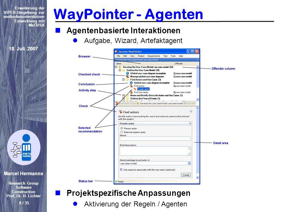 Marcel Hermanns Research Group Software Construction Prof. Dr. H. Lichter 8 / 35 Erweiterung der ViPER-Umgebung zur methodenunterstützen Entwicklung m