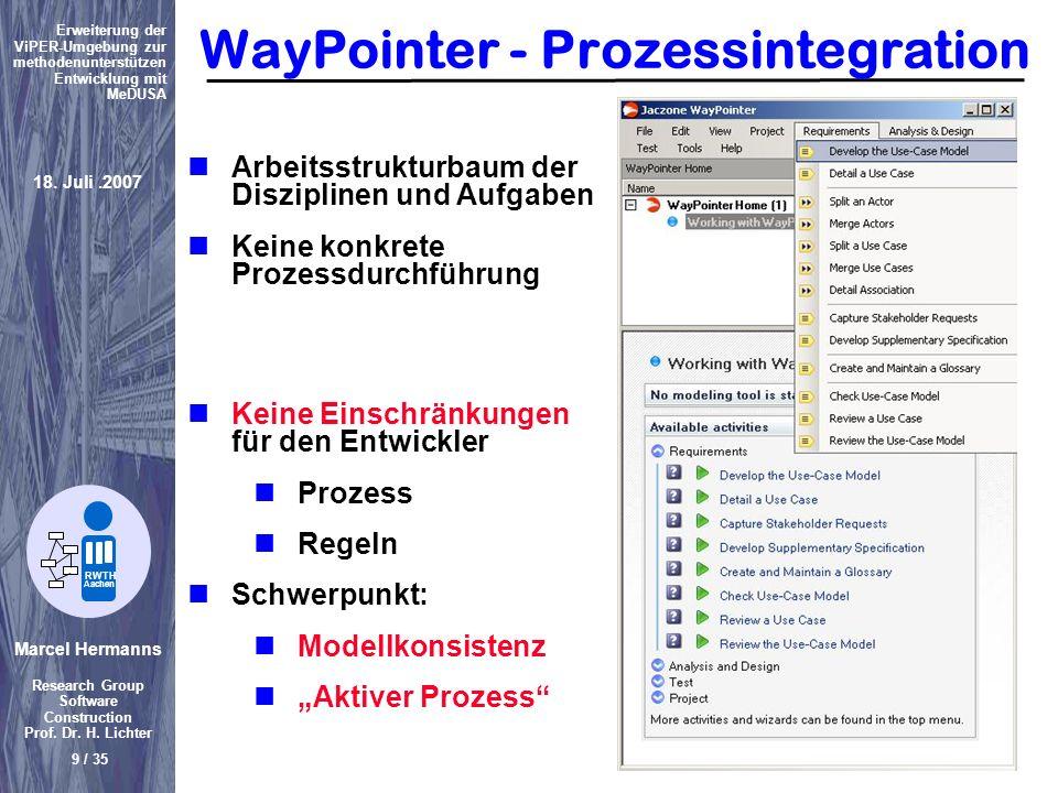 Marcel Hermanns Research Group Software Construction Prof. Dr. H. Lichter 9 / 35 Erweiterung der ViPER-Umgebung zur methodenunterstützen Entwicklung m