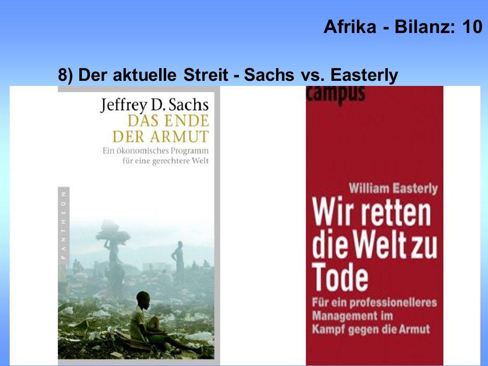 8) Der aktuelle Streit - Sachs vs. Easterly Afrika - Bilanz: 10 Prof. Dr. Cord Jakobeit