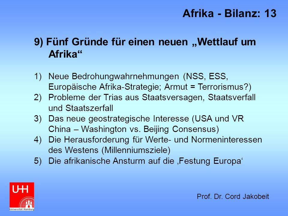 9) Fünf Gründe für einen neuen Wettlauf um Afrika 1)Neue Bedrohungwahrnehmungen (NSS, ESS, Europäische Afrika-Strategie; Armut = Terrorismus?) 2)Probl
