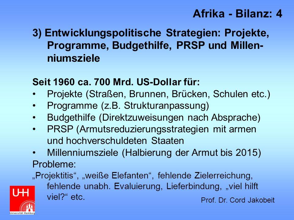 3) Entwicklungspolitische Strategien: Projekte, Programme, Budgethilfe, PRSP und Millen- niumsziele Seit 1960 ca. 700 Mrd. US-Dollar für: Projekte (St