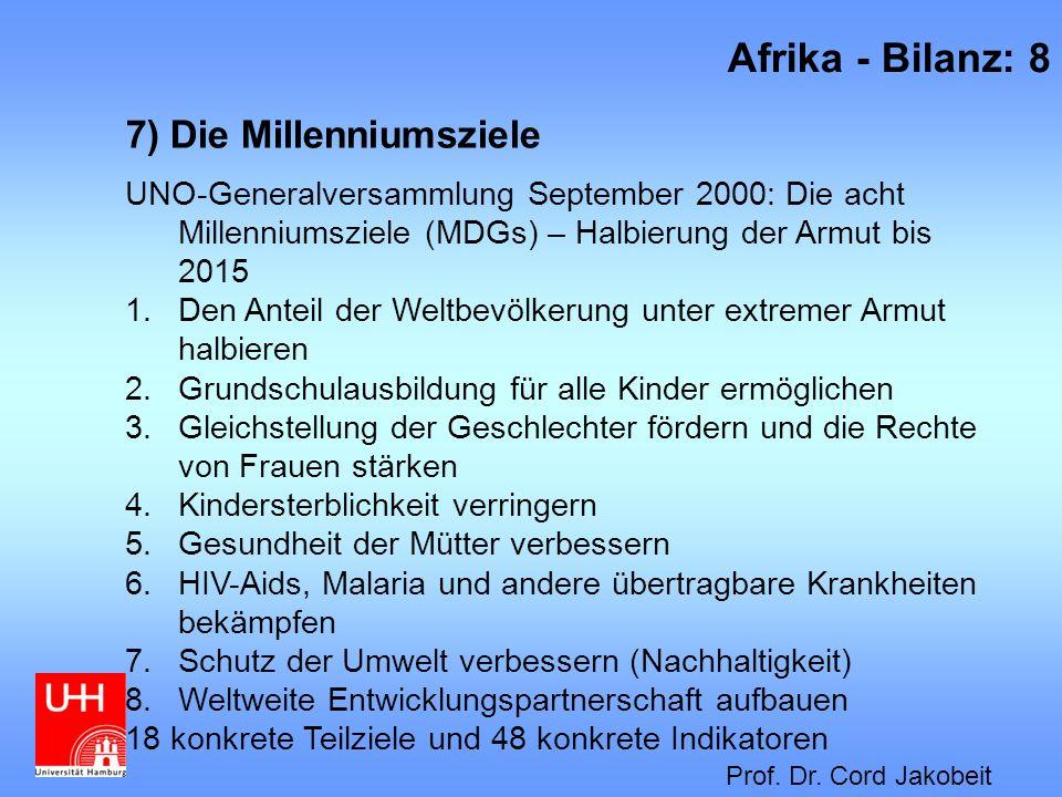 7) Die Millenniumsziele UNO-Generalversammlung September 2000: Die acht Millenniumsziele (MDGs) – Halbierung der Armut bis 2015 1.Den Anteil der Weltb