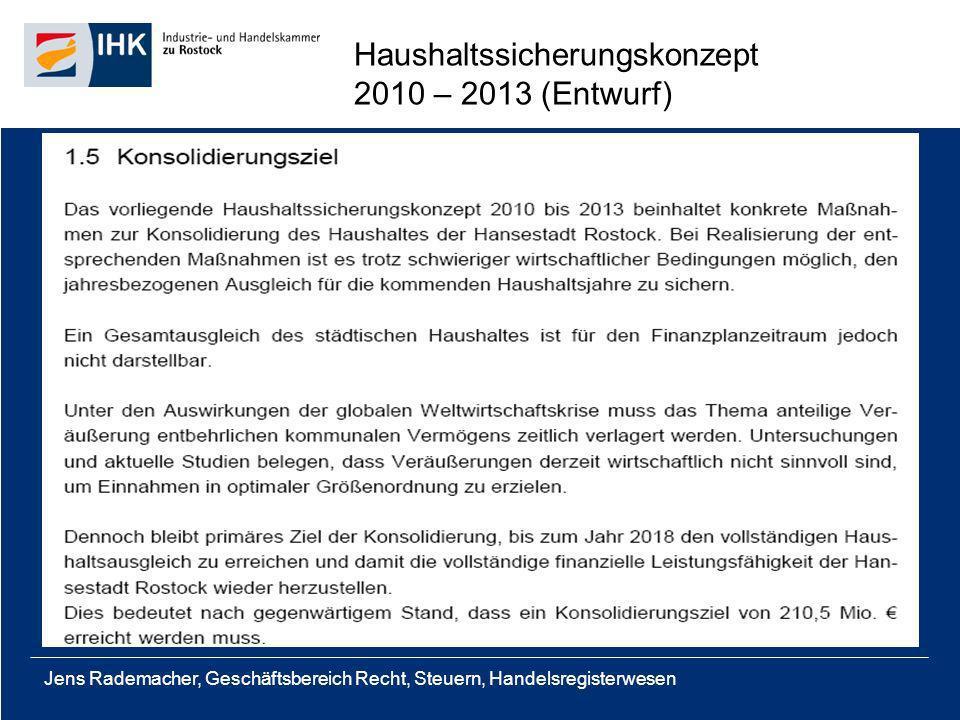 Jens Rademacher, Geschäftsbereich Recht, Steuern, Handelsregisterwesen Haushaltssicherungskonzept 2010 – 2013 (Entwurf)
