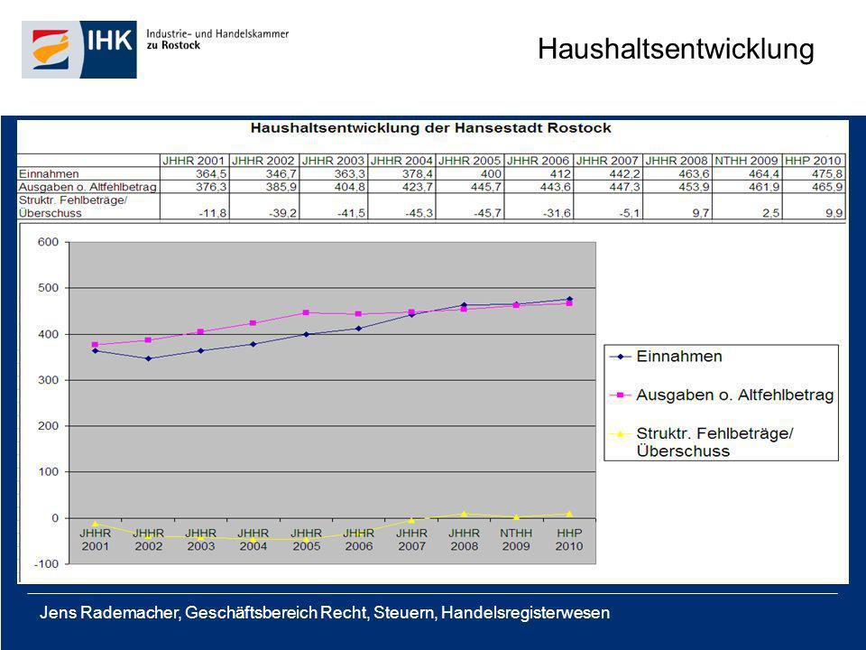 Jens Rademacher, Geschäftsbereich Recht, Steuern, Handelsregisterwesen Anordnung des Innenministeriums