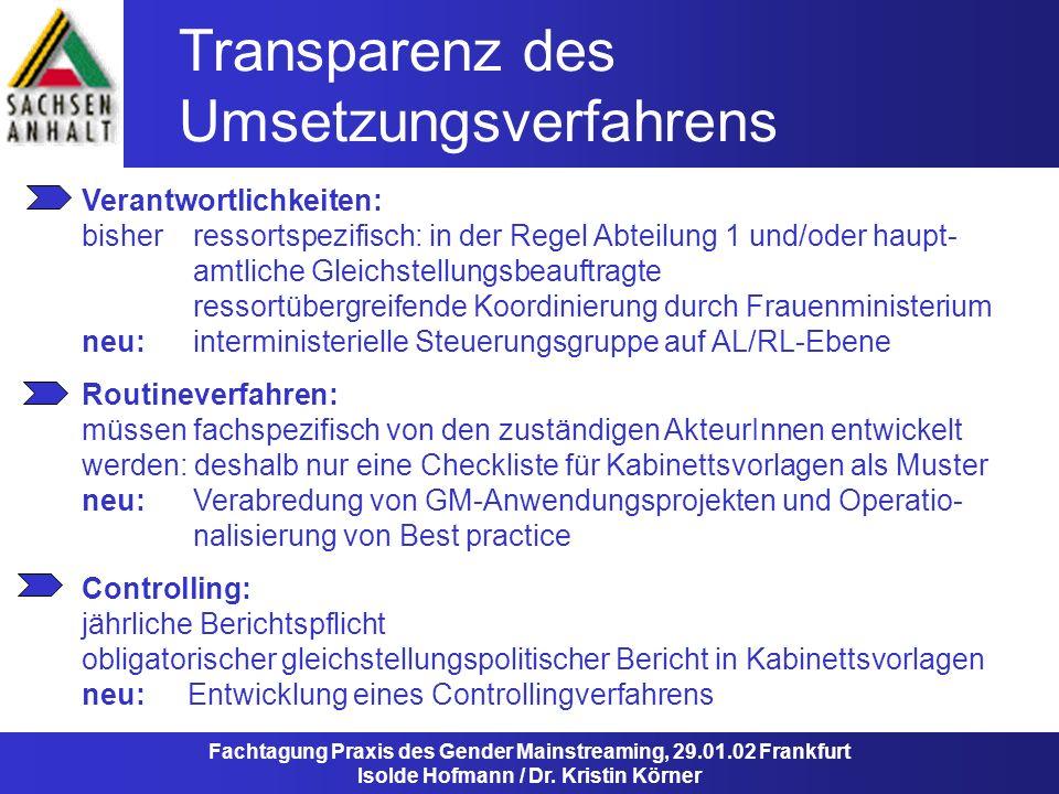 Transparenz des Umsetzungsverfahrens Fachtagung Praxis des Gender Mainstreaming, 29.01.02 Frankfurt Isolde Hofmann / Dr. Kristin Körner Routineverfahr
