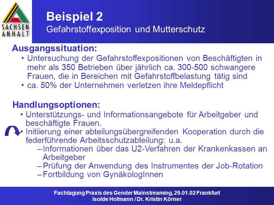 Beispiel 2 Gefahrstoffexposition und Mutterschutz Ausgangssituation: Fachtagung Praxis des Gender Mainstreaming, 29.01.02 Frankfurt Isolde Hofmann / D