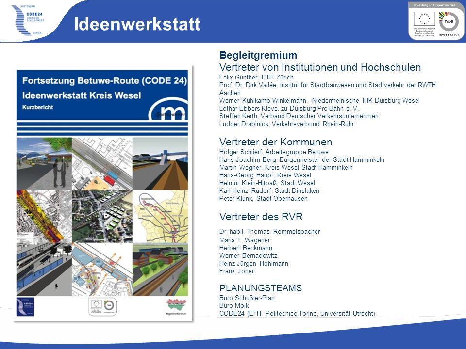 Ideenwerkstatt Begleitgremium Vertreter von Institutionen und Hochschulen Felix Günther, ETH Zürich Prof. Dr. Dirk Vallée, Institut für Stadtbauwesen