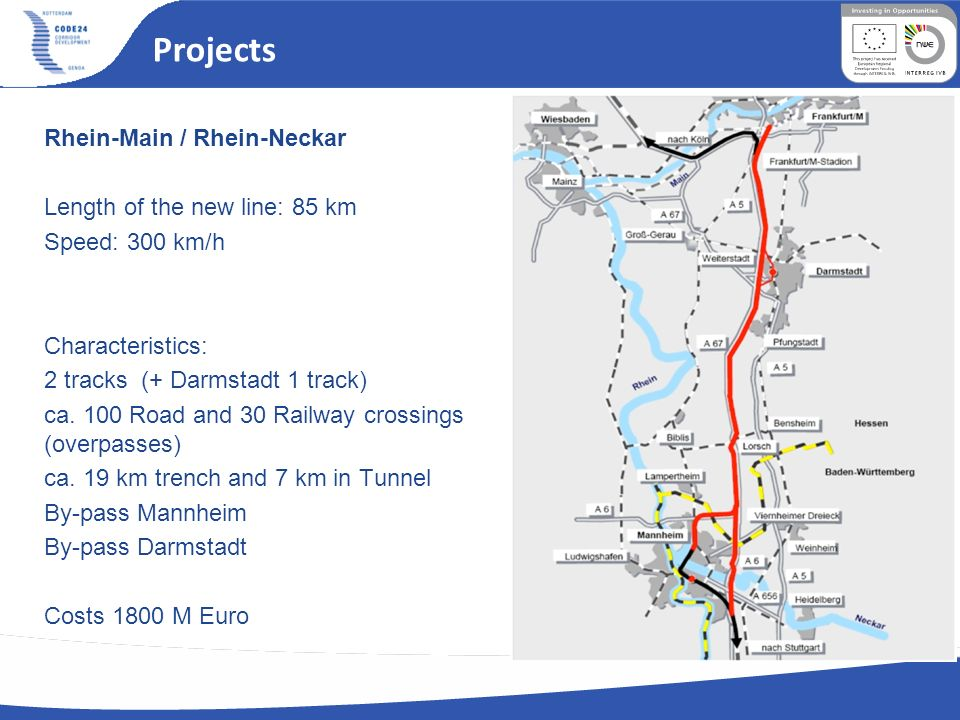 Projects Rhein-Main / Rhein-Neckar Length of the new line: 85 km Speed: 300 km/h Characteristics: 2 tracks (+ Darmstadt 1 track) ca. 100 Road and 30 R