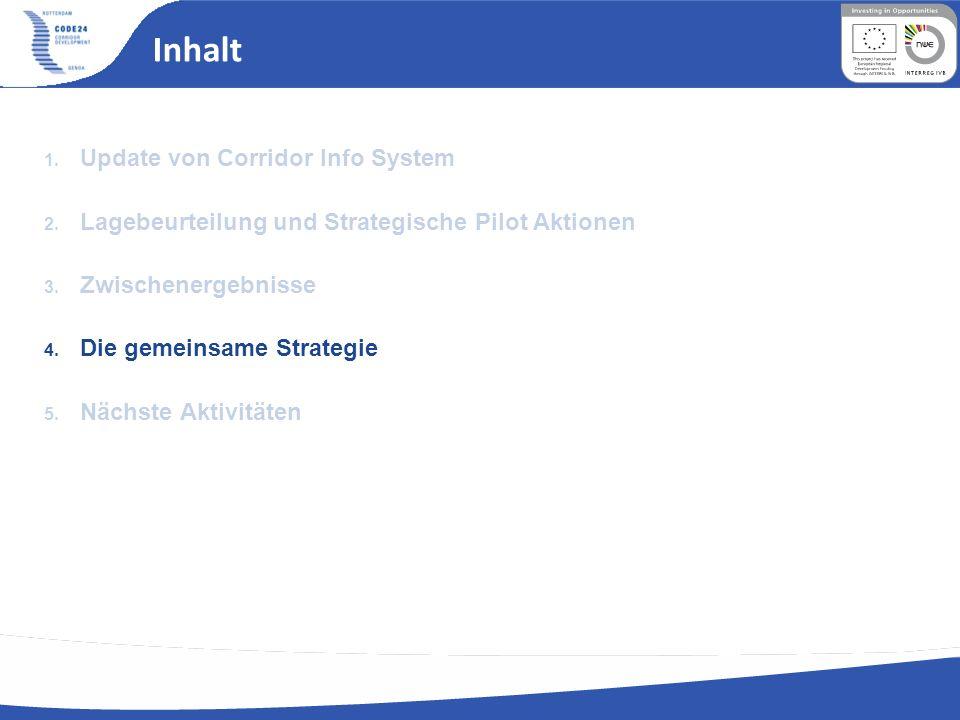 Inhalt 1. Update von Corridor Info System 2. Lagebeurteilung und Strategische Pilot Aktionen 3. Zwischenergebnisse 4. Die gemeinsame Strategie 5. Näch