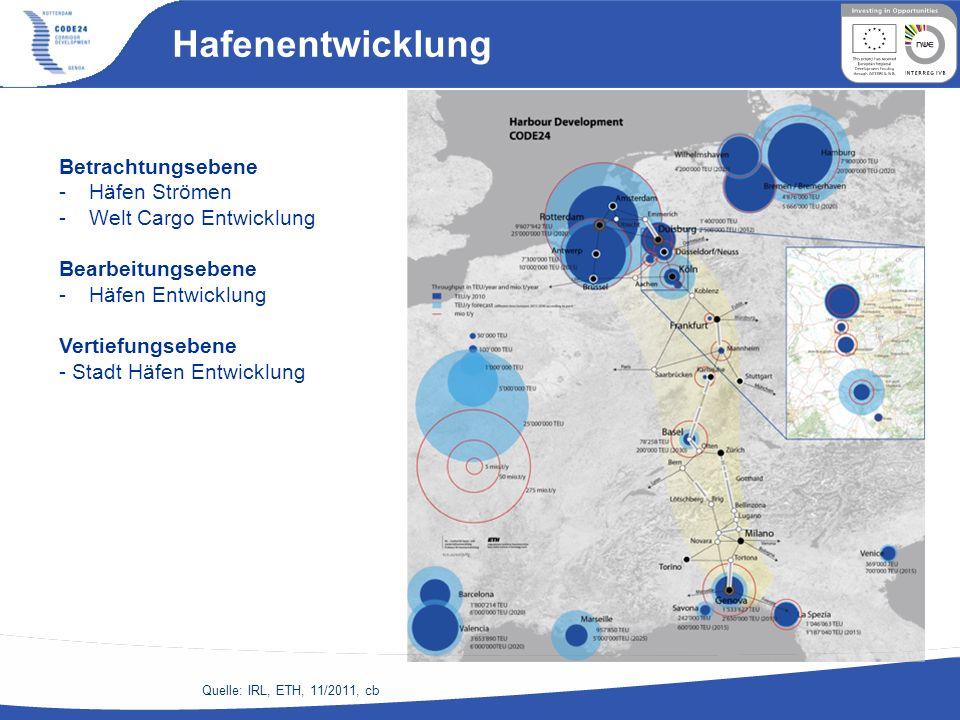 Hafenentwicklung Quelle: IRL, ETH, 11/2011, cb Betrachtungsebene -Häfen Strömen -Welt Cargo Entwicklung Bearbeitungsebene -Häfen Entwicklung Vertiefun