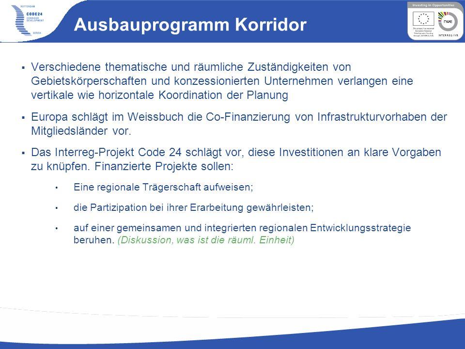 Ausbauprogramm Korridor Verschiedene thematische und räumliche Zuständigkeiten von Gebietskörperschaften und konzessionierten Unternehmen verlangen ei