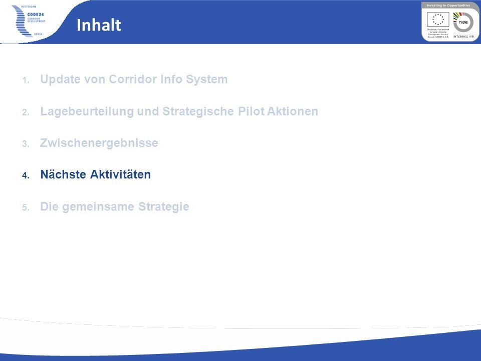 Inhalt 1. Update von Corridor Info System 2. Lagebeurteilung und Strategische Pilot Aktionen 3. Zwischenergebnisse 4. Nächste Aktivitäten 5. Die gemei