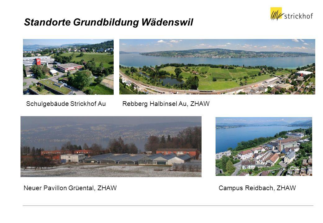 Standorte Grundbildung Wädenswil Neuer Pavillon Grüental, ZHAW Schulgebäude Strickhof AuRebberg Halbinsel Au, ZHAW Campus Reidbach, ZHAW