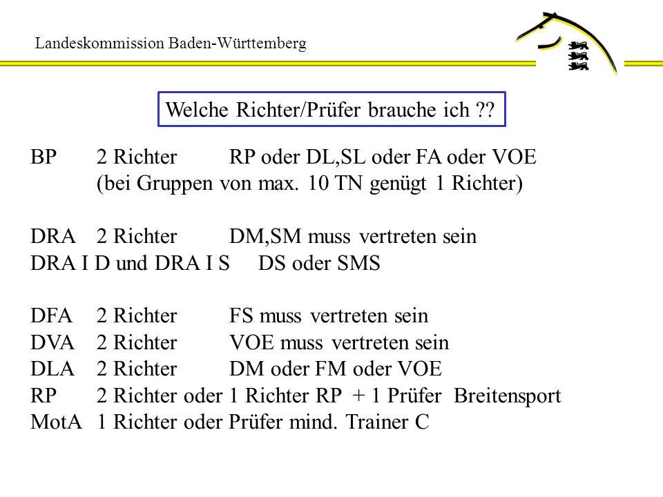 Landeskommission Baden-Württemberg Welche Richter/Prüfer brauche ich ?? BP2 RichterRP oder DL,SL oder FA oder VOE (bei Gruppen von max. 10 TN genügt 1