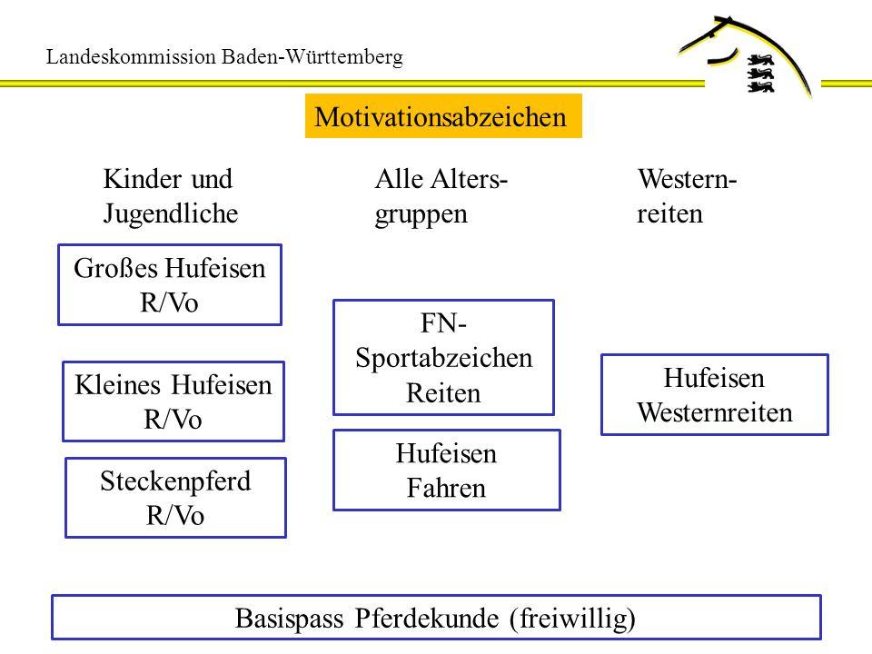Landeskommission Baden-Württemberg Motivationsabzeichen Kinder und Jugendliche Alle Alters- gruppen Western- reiten Großes Hufeisen R/Vo Kleines Hufei