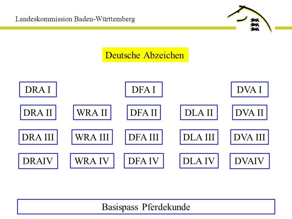Landeskommission Baden-Württemberg Abzeichen Geländefahren und -reiten WaF 1 Basispass Pferdekunde WaF 2 WaR 1 WaR 2 DiR 3 DiR 1 DiR 2 DiF 1 DiF 2JaR 2 JaR 1 Deutscher FahrpassDeutscher Reitpass