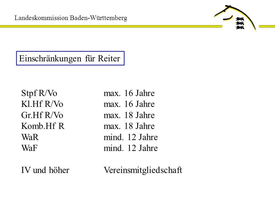 Landeskommission Baden-Württemberg Einschränkungen für Reiter Stpf R/Vomax. 16 Jahre Kl.Hf R/Vomax. 16 Jahre Gr.Hf R/Vomax. 18 Jahre Komb.Hf Rmax. 18