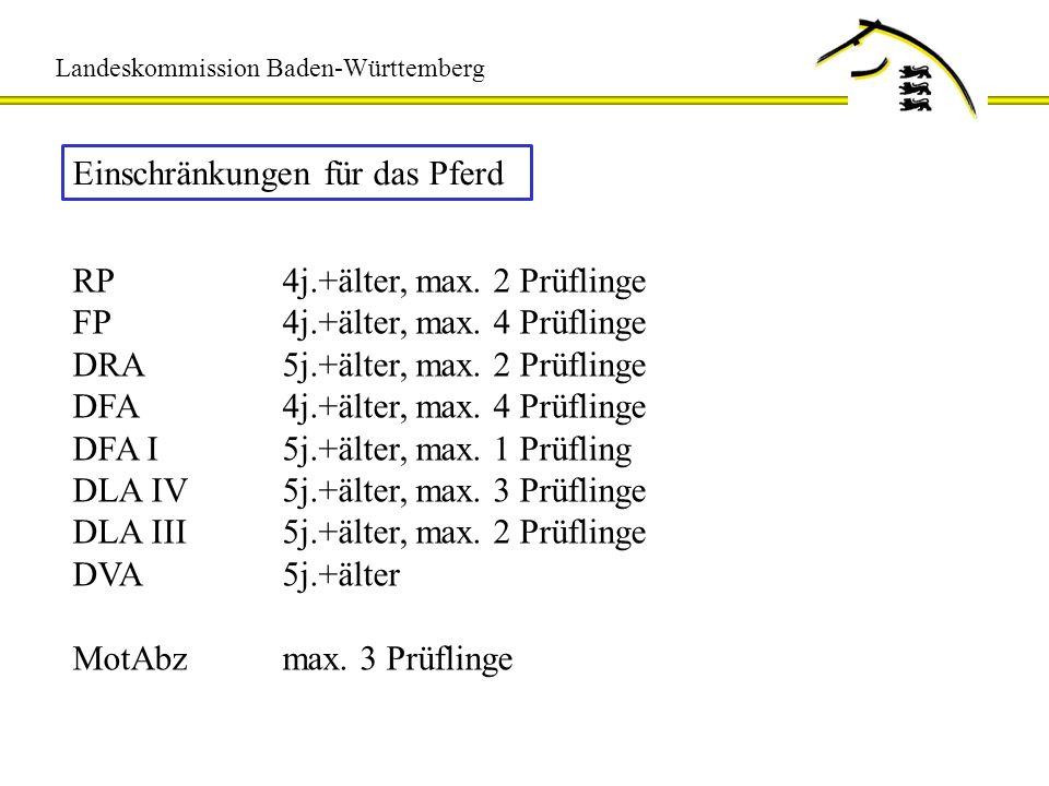 Landeskommission Baden-Württemberg Einschränkungen für das Pferd RP4j.+älter, max. 2 Prüflinge FP4j.+älter, max. 4 Prüflinge DRA5j.+älter, max. 2 Prüf
