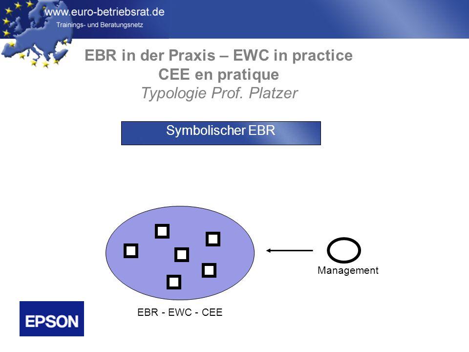 www.euro-betriebsrat.de EBR in der Praxis – EWC in practice CEE en pratique Typologie Prof. Platzer Management EBR - EWC - CEE Symbolischer EBR
