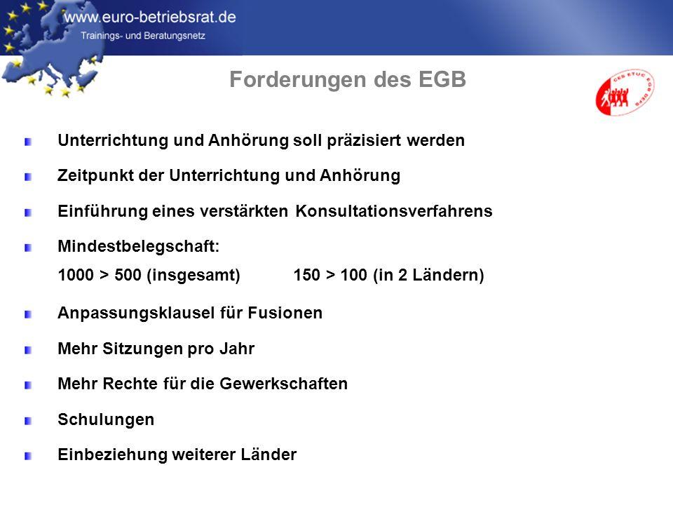 www.euro-betriebsrat.de Unterrichtung und Anhörung soll präzisiert werden Zeitpunkt der Unterrichtung und Anhörung Einführung eines verstärkten Konsul