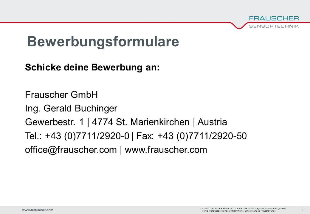 www.frauscher.com7 © Frauscher GmbH – alle Rechte vorbehalten.