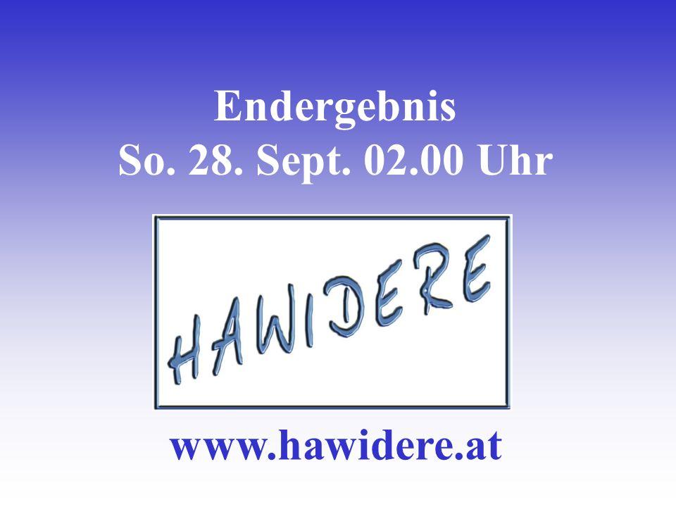 Endergebnis So. 28. Sept. 02.00 Uhr www.hawidere.at
