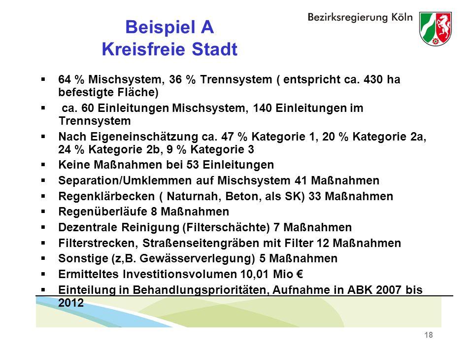 18 Beispiel A Kreisfreie Stadt 64 % Mischsystem, 36 % Trennsystem ( entspricht ca.