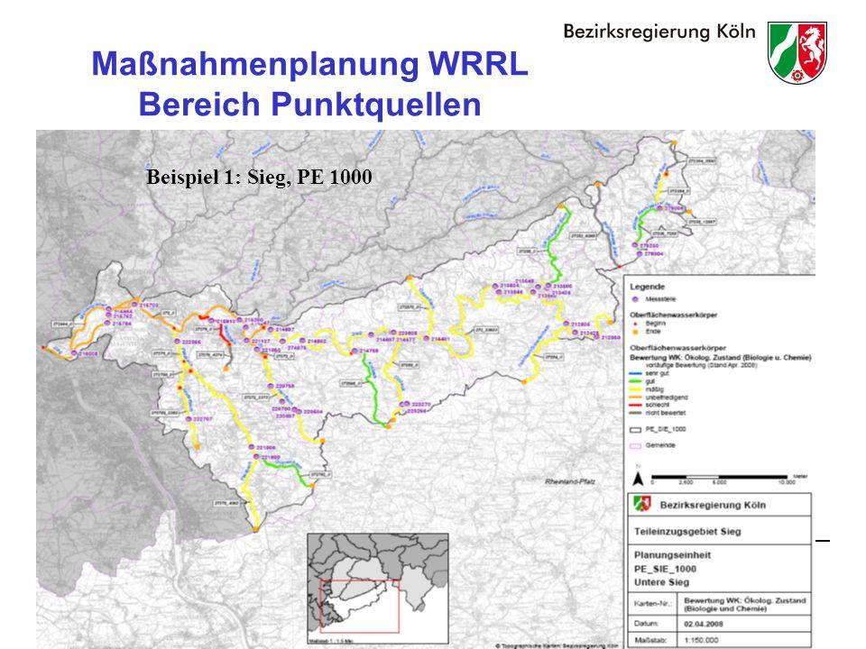 24 Maßnahmenplanung WRRL Bereich Punktquellen Beispiel 1: Sieg, PE 1000