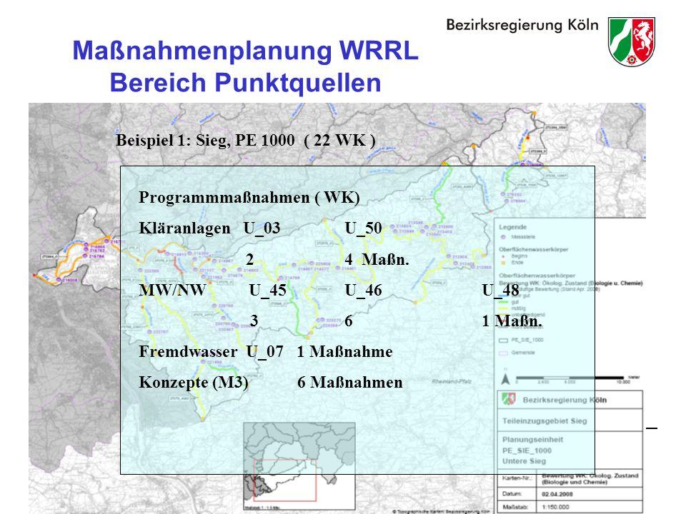 25 Maßnahmenplanung WRRL Bereich Punktquellen Beispiel 1: Sieg, PE 1000 ( 22 WK ) Programmmaßnahmen ( WK) Kläranlagen U_03U_50 24 Maßn.