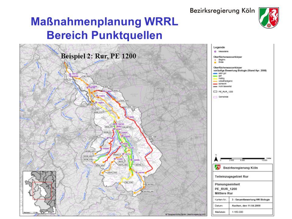 26 Maßnahmenplanung WRRL Bereich Punktquellen Beispiel 2: Rur, PE 1200