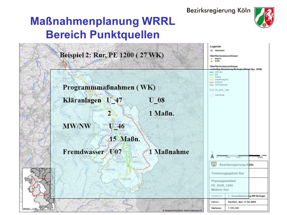 27 Maßnahmenplanung WRRL Bereich Punktquellen Beispiel 2: Rur, PE 1200 ( 27 WK) Programmmaßnahmen ( WK) Kläranlagen U_47U_08 21 Maßn.