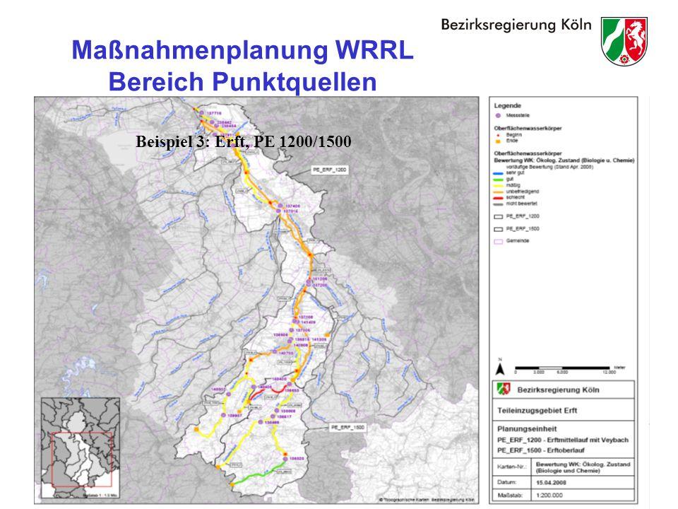 28 Maßnahmenplanung WRRL Bereich Punktquellen Beispiel 3: Erft, PE 1200/1500