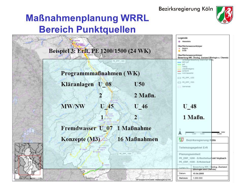 29 Maßnahmenplanung WRRL Bereich Punktquellen Beispiel 3: Erft, PE 1200/1500 (24 WK) Programmmaßnahmen ( WK) Kläranlagen U_08U50 22 Maßn.