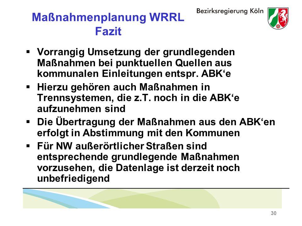 30 Maßnahmenplanung WRRL Fazit Vorrangig Umsetzung der grundlegenden Maßnahmen bei punktuellen Quellen aus kommunalen Einleitungen entspr.