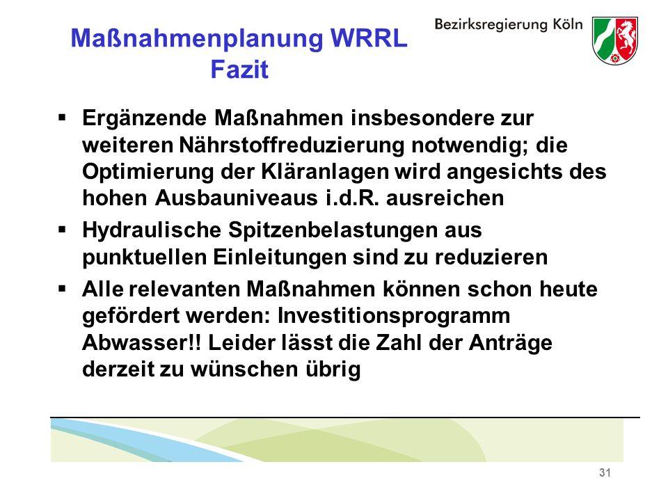 31 Maßnahmenplanung WRRL Fazit Ergänzende Maßnahmen insbesondere zur weiteren Nährstoffreduzierung notwendig; die Optimierung der Kläranlagen wird angesichts des hohen Ausbauniveaus i.d.R.