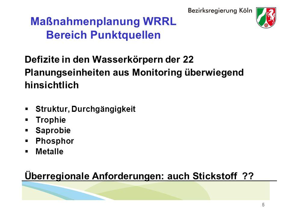 5 Maßnahmenplanung WRRL Bereich Punktquellen Defizite in den Wasserkörpern der 22 Planungseinheiten aus Monitoring überwiegend hinsichtlich Struktur, Durchgängigkeit Trophie Saprobie Phosphor Metalle Überregionale Anforderungen: auch Stickstoff ??