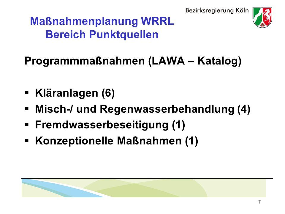 7 Maßnahmenplanung WRRL Bereich Punktquellen Programmmaßnahmen (LAWA – Katalog) Kläranlagen (6) Misch-/ und Regenwasserbehandlung (4) Fremdwasserbeseitigung (1) Konzeptionelle Maßnahmen (1)