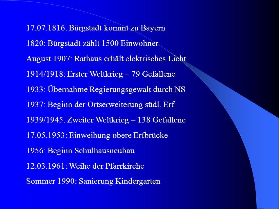 17.07.1816: Bürgstadt kommt zu Bayern 1820: Bürgstadt zählt 1500 Einwohner August 1907: Rathaus erhält elektrisches Licht 1914/1918: Erster Weltkrieg – 79 Gefallene 1933: Übernahme Regierungsgewalt durch NS 1937: Beginn der Ortserweiterung südl.