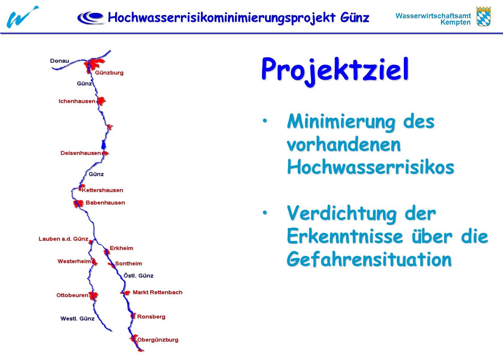 Hochwasserrisikominimierungsprojekt Günz Wasserwirtschaftsamt Kempten ProjektgrundsätzeProjektgrundsätze keine Abflussverschärfung durch Maßnahmen für An- / Ober- / Unterlieger (bei kleinen, mittleren und großen Hochwässern) keine Abflussverschärfung durch Maßnahmen für An- / Ober- / Unterlieger (bei kleinen, mittleren und großen Hochwässern) Integrale Sichtweise – von der Quelle bis zur Mündung: Hochwasserschutz und Renaturierung Integrale Sichtweise – von der Quelle bis zur Mündung: Hochwasserschutz und Renaturierung Finanzierung nach dem Grundsatz - Nutzung und Wirkung - Ausbaupflicht Finanzierung nach dem Grundsatz - Nutzung und Wirkung - Ausbaupflicht