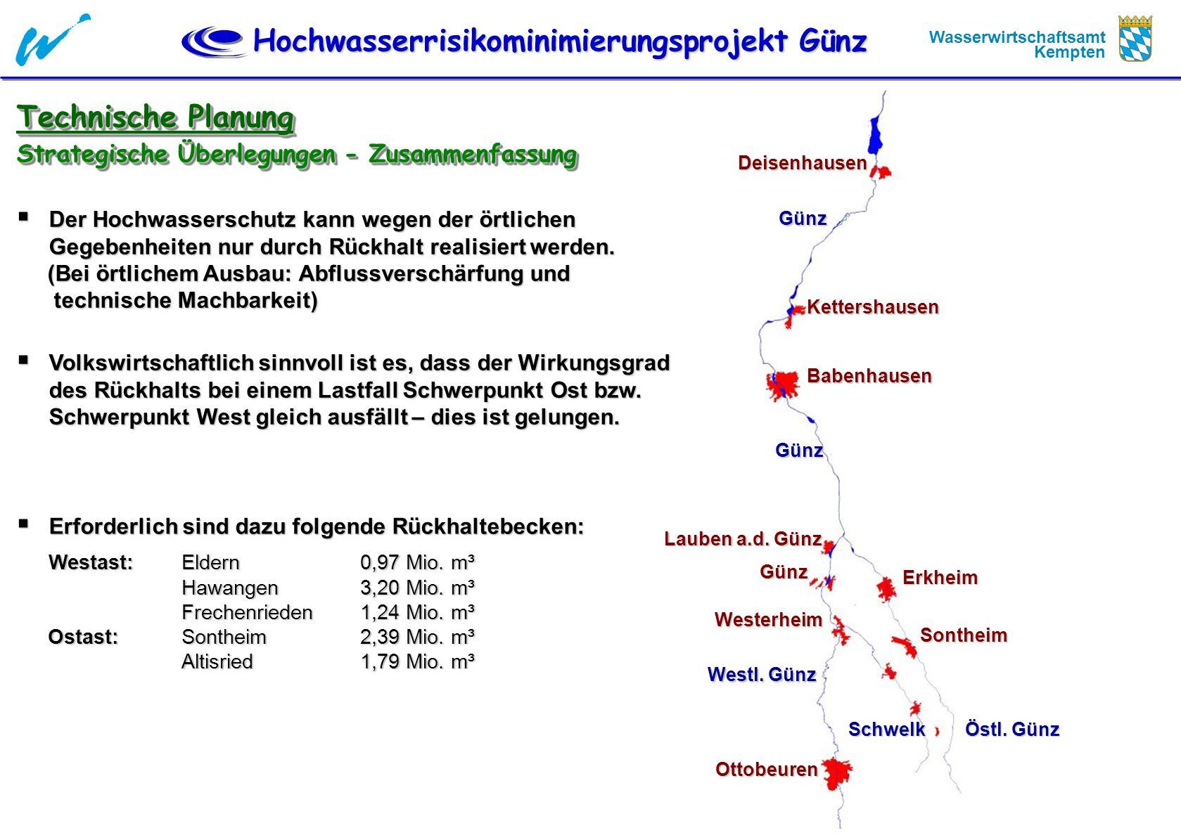 Hochwasserrisikominimierungsprojekt Günz Wasserwirtschaftsamt Kempten Technische Planung Strategische Überlegungen - Zusammenfassung Der Hochwassersch